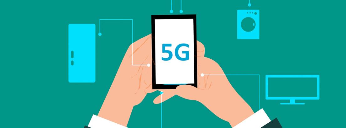 Ilustración de unas manos sujetando un teléfono móvil con tecnología 5G conectado a otros dispositivos