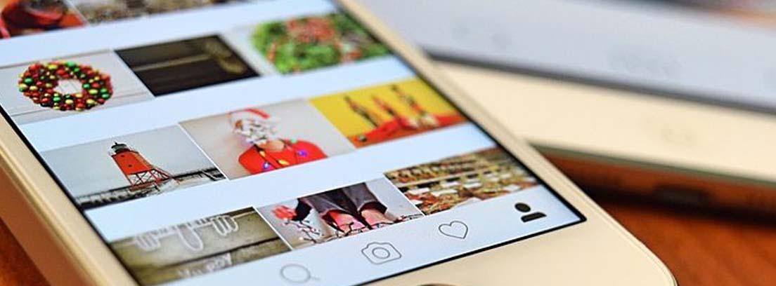 Pantalla de móvil con diferentes fotos de un perfil social