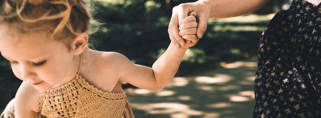Niña pequeña de la mano de una mujer