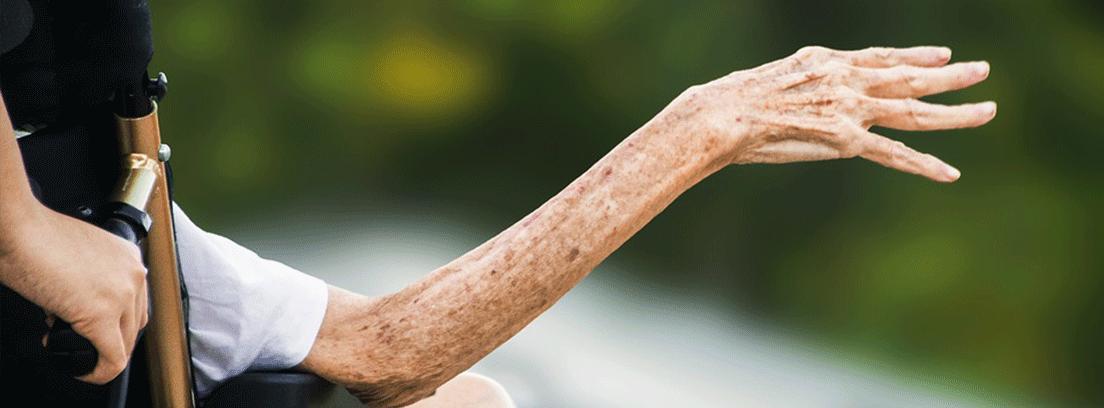 mano de una persona mayor en una silla de ruedas