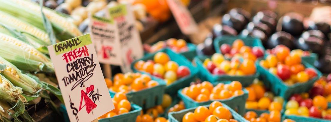 Puesto de frutería con productos de temporada