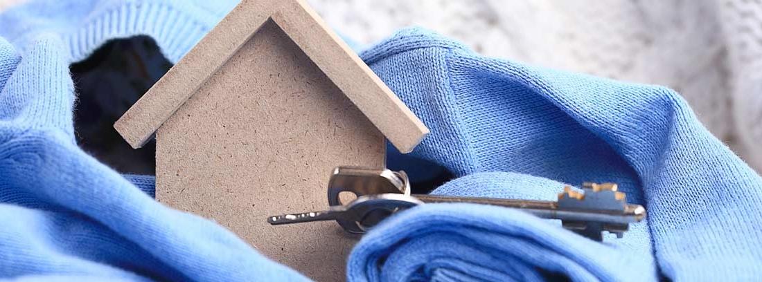 Casa de madera con billetes al lado