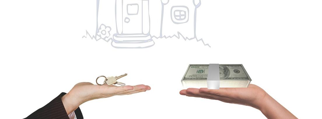 Mano con llaves junto a otra con dinero delante de un dibujo de casa