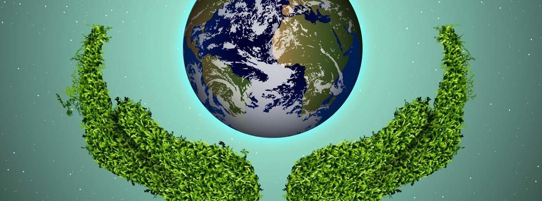 Planeta tierra sostenido por manos de hierba verde
