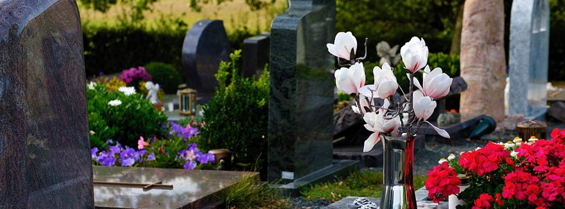 tumbas con flores en un cementerio