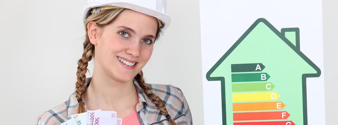 Mujer con casco de obra, dinero y un dibujo de casa con etiqueta energética