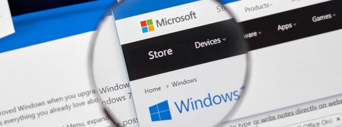 Lupa sobre la palabra store de la página de Microsoft