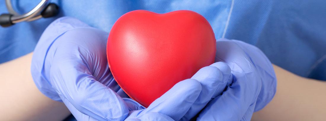 Manos de doctor con guantes y bata sosteniendo un corazón