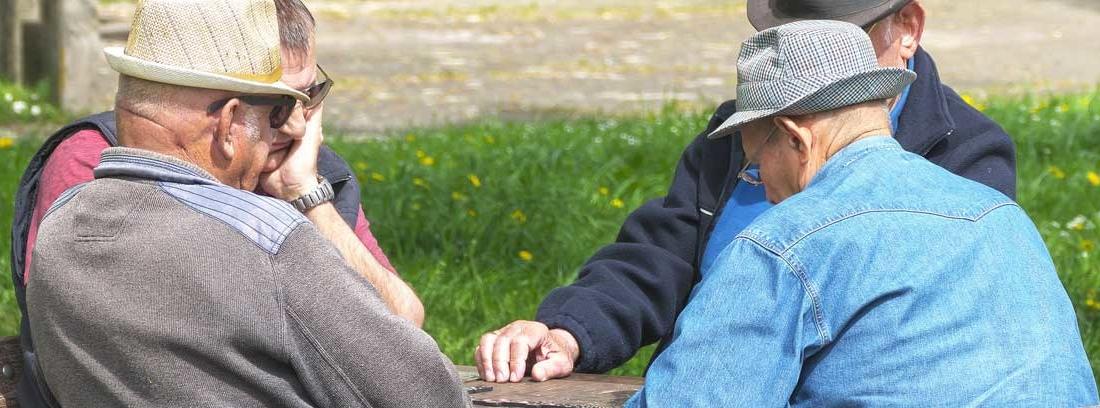 Jubilados sentados en una mesa de un parque