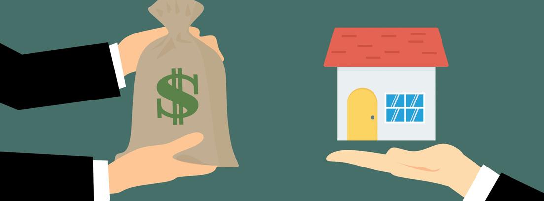 Ilustración de unas manos dando un saco con el símbolo del dólar a otras manos que sujetan una casa