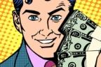 Ilustración de un hombre con fajos de billetes