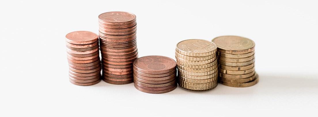 Monedas de uno, dos, cinco, diez y veinte céntimos
