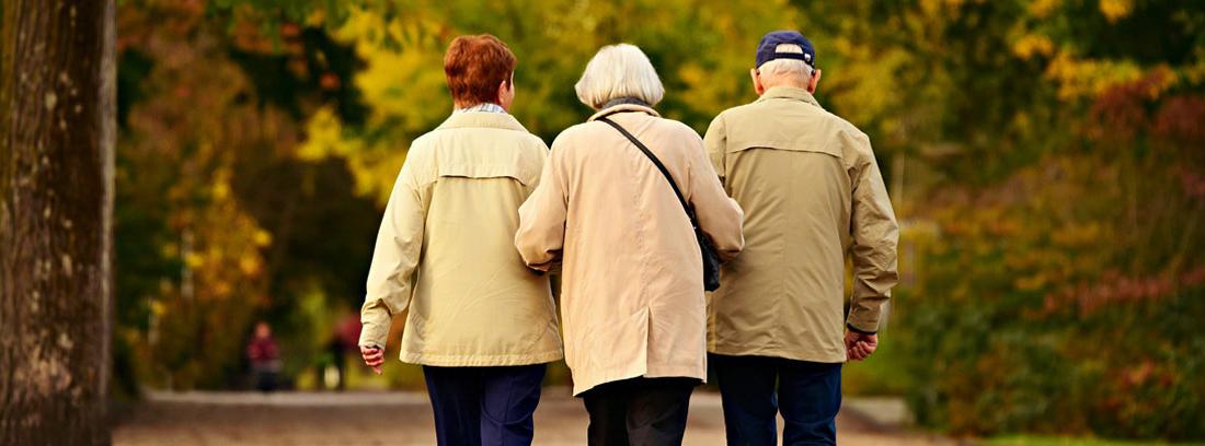 Tres ancianos caminando juntos por el parque