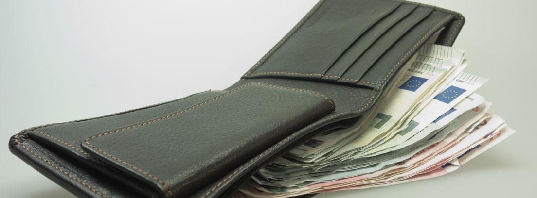 Cartera llena de billetes de Euro