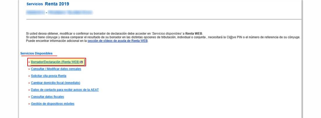 Pantallazo de las gestiones ha realizar dentro de la web de la Agencia Tributaria