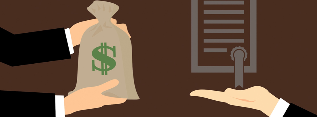 Ilustración en la que se ve unas manos extendiendo un saco con el símbolo del dólar y otra mano sujetando un documento certificado
