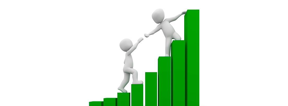 Gráfico ascendente con dos monigotes ayudándose para subir