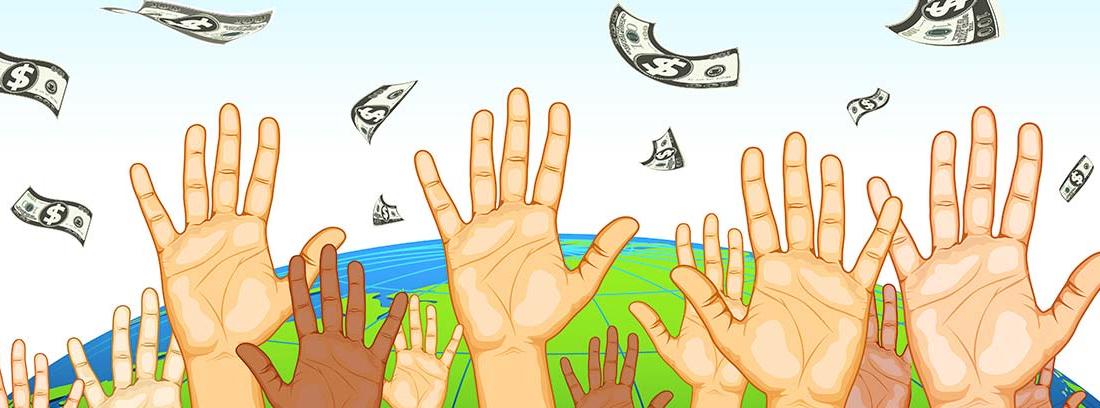 Ilustración de varias manos bajo una lluvia de billetes, como metáfora del estado de bienestar