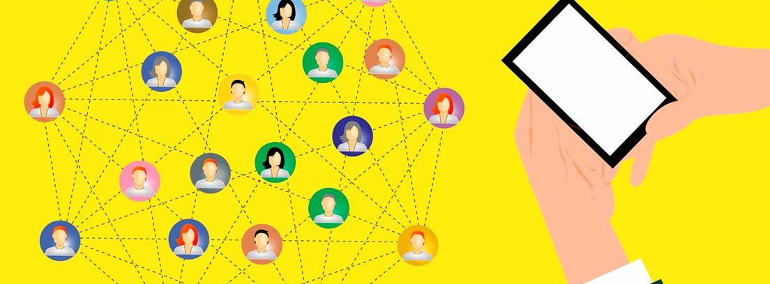 Ilustración de un móvil y varios perfiles conectados con líneas