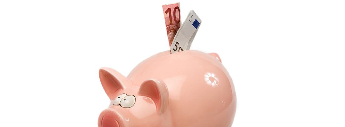 Hucha de cerdo con billetes