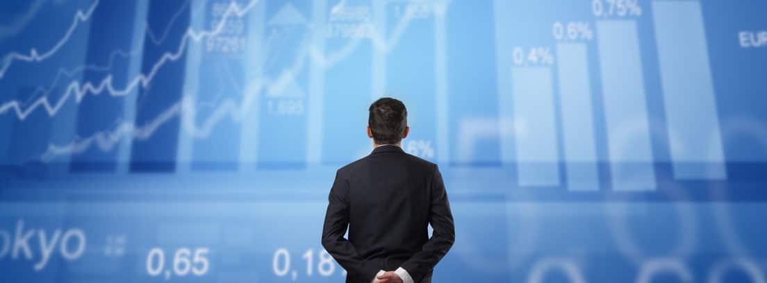 Un hombre de espaldas observa gráficos y cifras