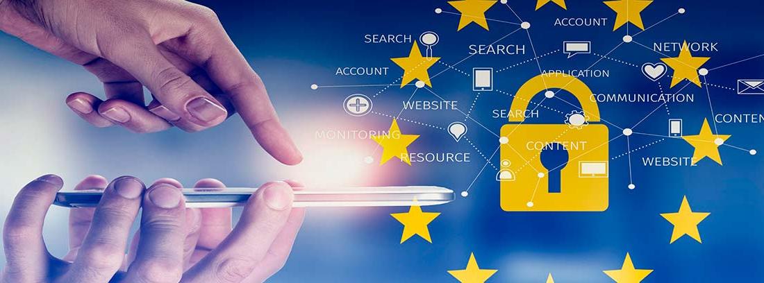Manos con un teléfono móvil junto al símbolo de un candado rodeado por las estrellas de la Unión Europea