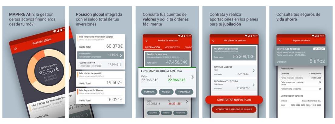 Cinco capturas de pantalla en las que se muestra cómo funciona MAPFRE Afin.