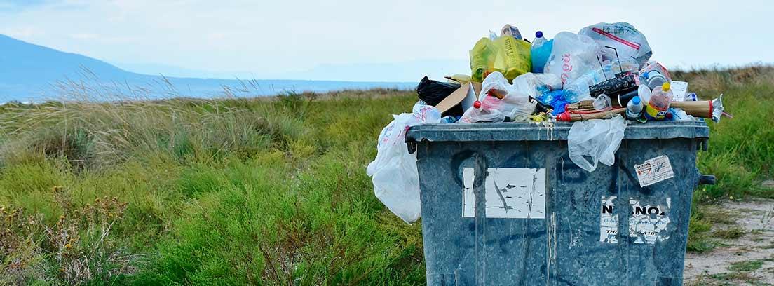 Contendor de basura lleno y con basura fuera en el campo