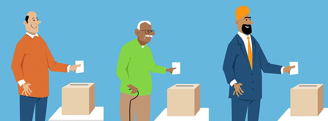 Ilustración en la que se ven tres hombres de diferentes nacionalidades depositando una papeleta dentro de una urna