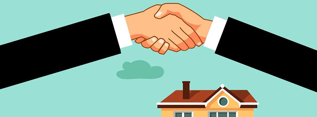"""Ilustración de unas manos estrechándose sobre una casa y un cartel de """"sold"""""""