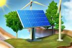 Panel solar, árboles y molino de viento