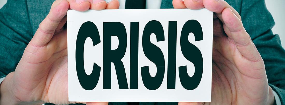 Cartel con la palabra crisis