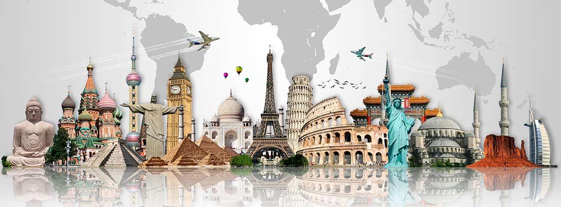 Mapamundi con monumentos famosos