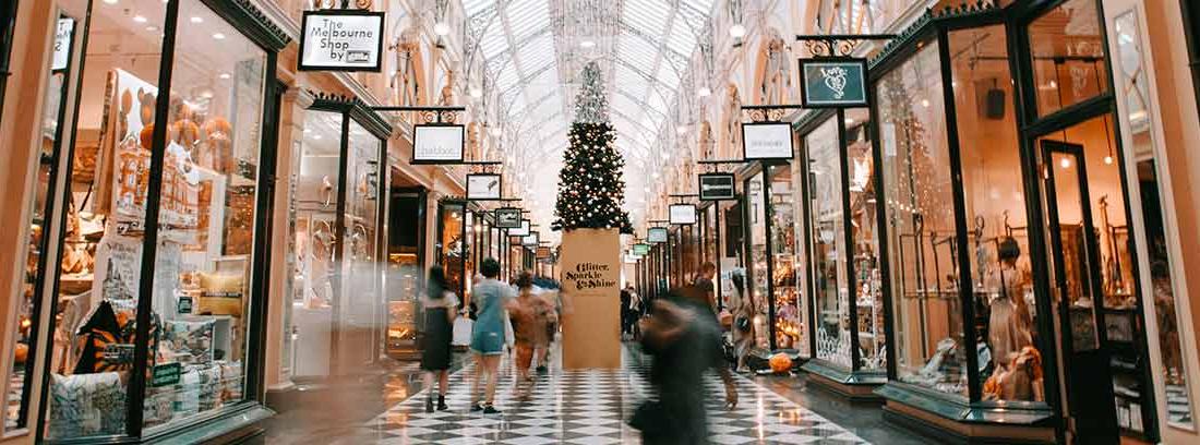 Vista de un pasillo de centro comercial con tiendas y escaparates