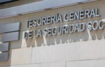 Letras sobre fachada en las que se lee tesorería general de la Seguridad Social