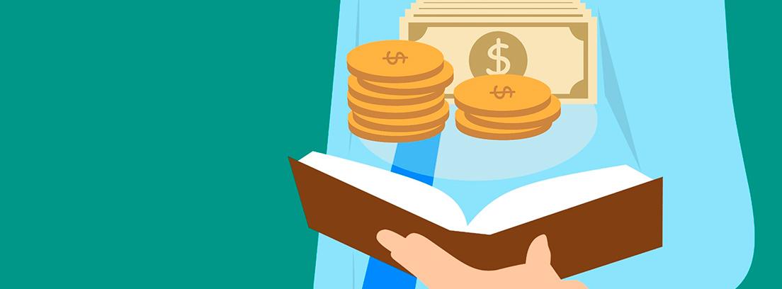 Ilustración en la que se ve un hombre con traje sujetando un libro con monedas y billetes de dólar