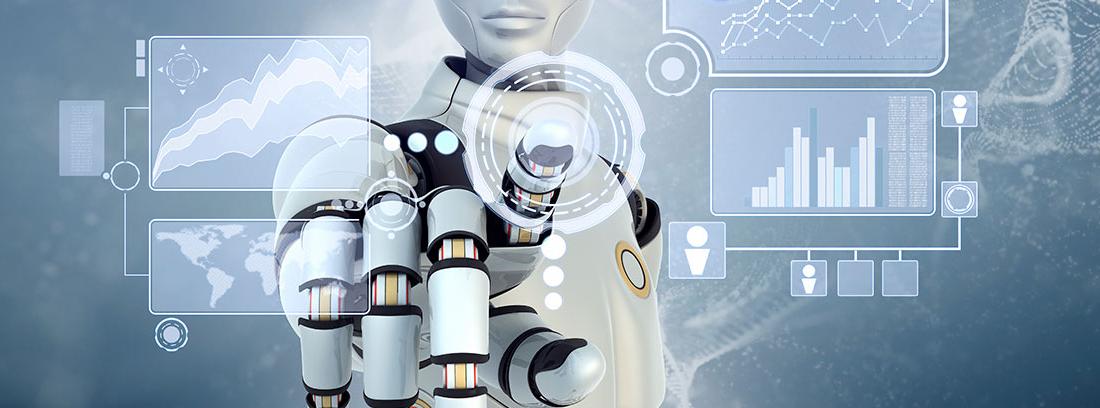 Un robot pulsa una pantalla táctil
