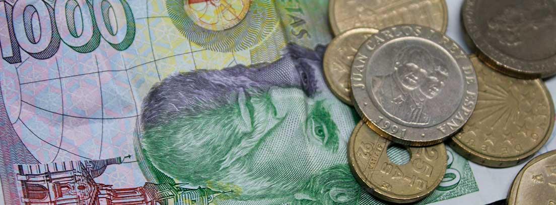 Billete y monedas de peseta