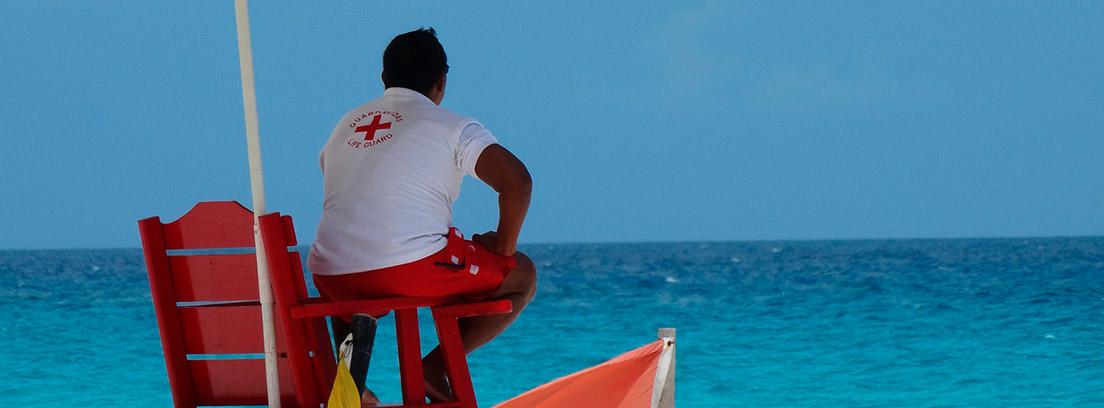Socorrista de espaldas en una playa