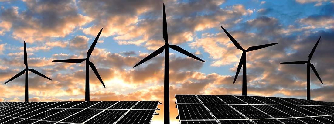 Paneles solares y turbinas eólicas