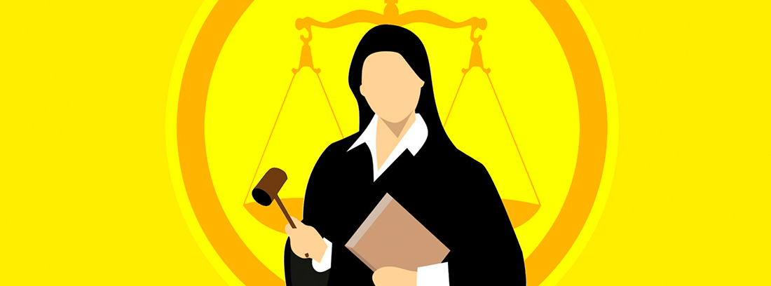 Ilustración de una juez sujetando un mazo y un libro delante del símbolo de la justicia