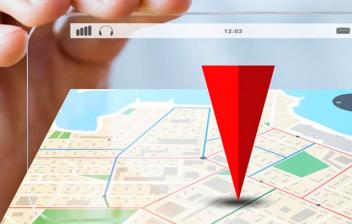 Mapa con un triángulo señalando una ubicación