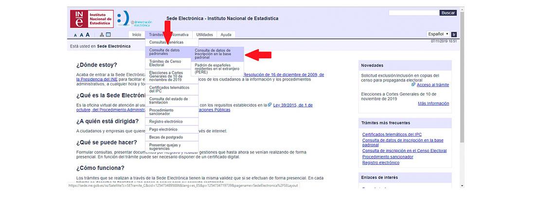 Pantallazo de la web del INE