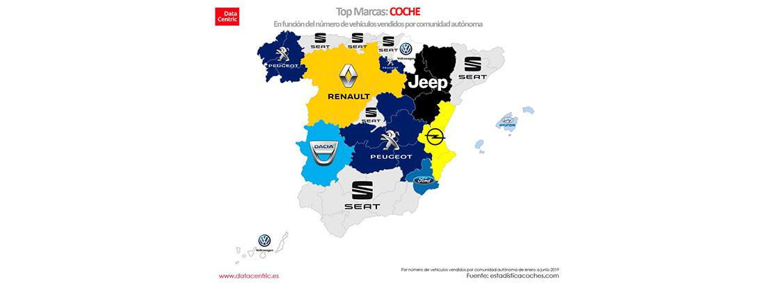 Marcas preferidas por Comunidades autónomas: sector automolístico
