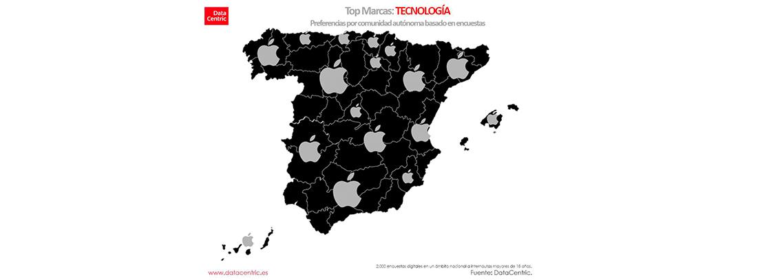 Marcas preferidas por Comunidades autónomas: tecnología