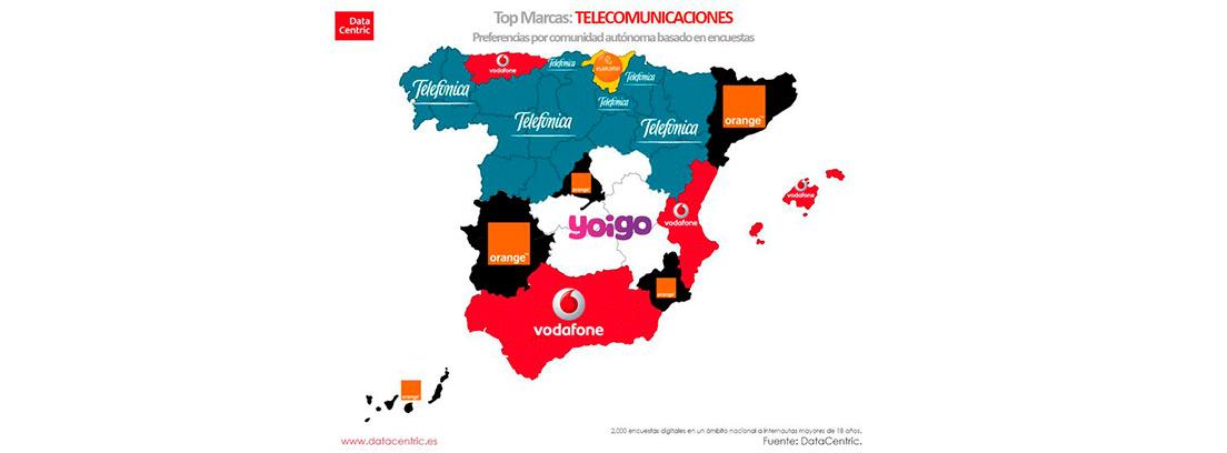 Marcas preferidas por Comunidades autónomas: telecomunicaciones