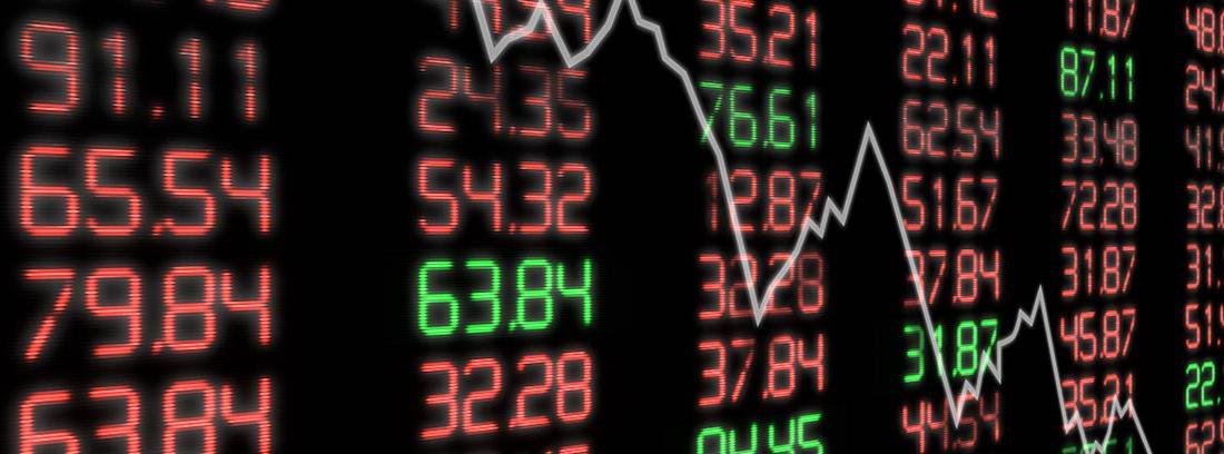 Gráfico de números que reflejan la caída de la bolsa