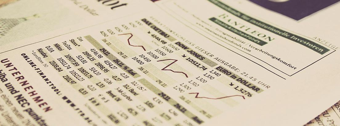 Portada de periódico con noticias económicas