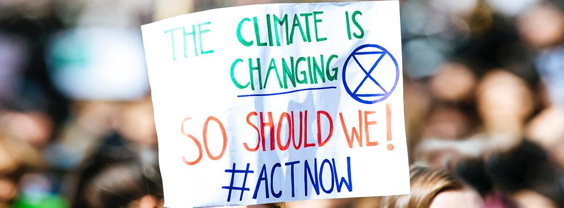 Pancarta en una manifestación contra el cambio climático