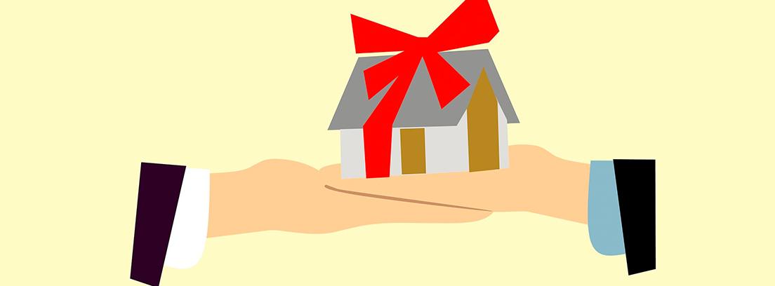 Ilustración de unas manos sujetando una casa con un lazo de regalo